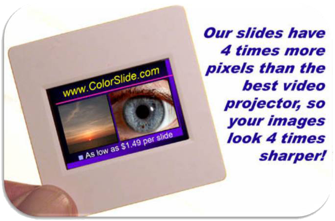 An actual photo of a 35mm color slide made from a digital image.
